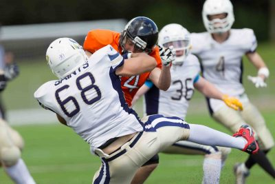 Oxford Saints v Bristol Apache during the BAFANL Division II – Southern Football Conference West match between Oxford Saints and Bristol Apache at Tilsley Park, Abingdon, England on 3rd July 2016. Photo by Gareth Brown of Gareth Brown Photography.