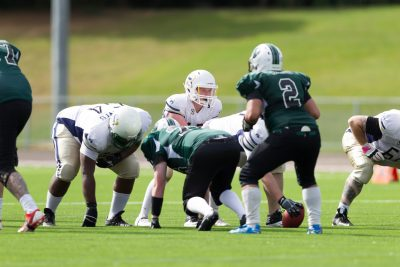 Oxford Saints during the BAFANL Division II – Southern Football Conference West match between Oxford Saints and Jurassic Coast Raptors at Tilsley Park, Abingdon, England on 31st July 2016. Photo by Gareth Brown.